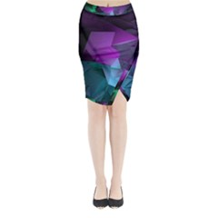 Abstract Shapes Purple Green Midi Wrap Pencil Skirt
