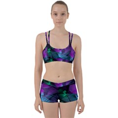 Abstract Shapes Purple Green Women s Sports Set by amphoto
