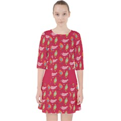 Fat Cat Red Quarter Sleeve Pocket Dress