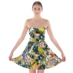 Art Graffiti Abstract Vintage Strapless Bra Top Dress