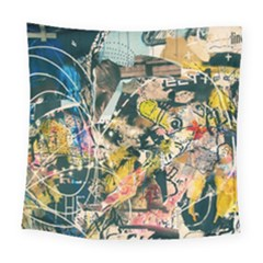 Art Graffiti Abstract Vintage Square Tapestry (large)