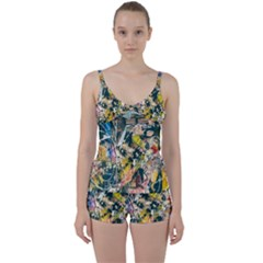 Art Graffiti Abstract Vintage Tie Front Two Piece Tankini