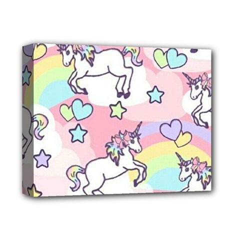 Unicorn Rainbow Deluxe Canvas 14  X 11  by Nexatart