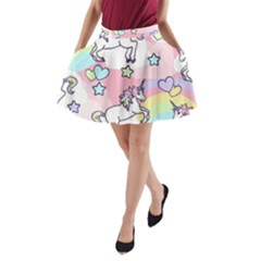 Unicorn Rainbow A Line Pocket Skirt