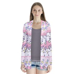 Unicorn Rainbow Drape Collar Cardigan by Nexatart