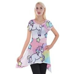 Unicorn Rainbow Short Sleeve Side Drop Tunic