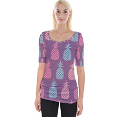 Pineapple Pattern Wide Neckline Tee