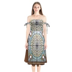 Stained Glass Window Library Of Congress Shoulder Tie Bardot Midi Dress
