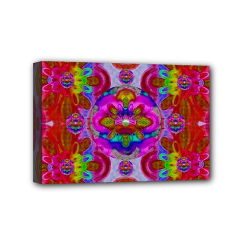 Fantasy   Florals  Pearls In Abstract Rainbows Mini Canvas 6  X 4  by pepitasart