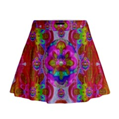 Fantasy   Florals  Pearls In Abstract Rainbows Mini Flare Skirt by pepitasart