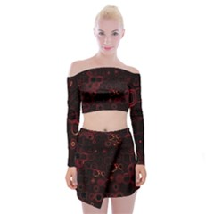 Psychedelic Lights 4 Off Shoulder Top With Skirt Set