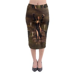 The Dark Side, Dark Fairy With Skulls In The Night Midi Pencil Skirt by FantasyWorld7