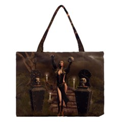 The Dark Side, Dark Fairy With Skulls In The Night Medium Tote Bag by FantasyWorld7