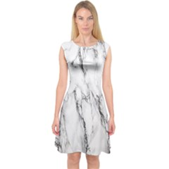 Marble Granite Pattern And Texture Capsleeve Midi Dress by Nexatart