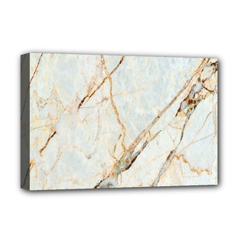 Marble Texture White Pattern Surface Effect Deluxe Canvas 18  X 12   by Nexatart