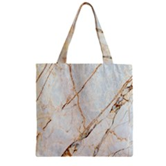 Marble Texture White Pattern Surface Effect Zipper Grocery Tote Bag by Nexatart