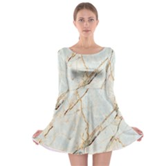 Marble Texture White Pattern Surface Effect Long Sleeve Skater Dress