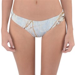 Marble Texture White Pattern Surface Effect Reversible Hipster Bikini Bottoms