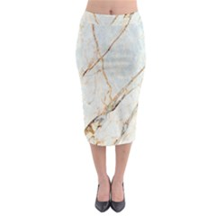 Marble Texture White Pattern Surface Effect Midi Pencil Skirt