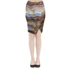 Wall Marble Pattern Texture Midi Wrap Pencil Skirt