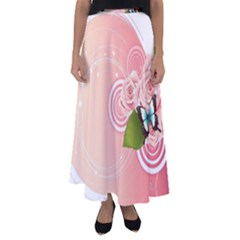Rose Butterfly Patterns  Flared Maxi Skirt