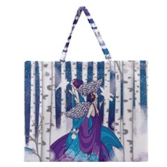 Girl Forest Trees Zipper Large Tote Bag by amphoto