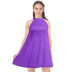 Purple Skin Leather Texture Pattern Halter Neckline Chiffon Dress