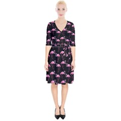 Flamingo Pattern Wrap Up Cocktail Dress