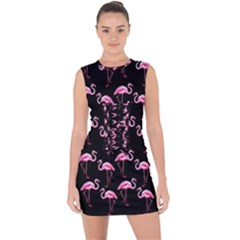 Flamingo Pattern Lace Up Front Bodycon Dress