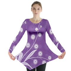 Flowers Leaves Purple  Long Sleeve Tunic  by amphoto