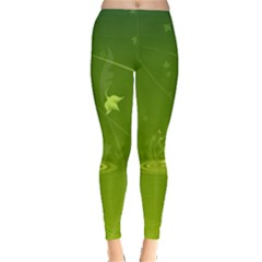 Patterns Green Background  Leggings  by amphoto
