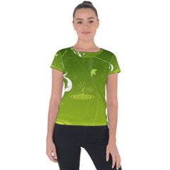 Patterns Green Background  Short Sleeve Sports Top