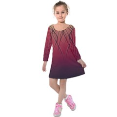 Waves Lines Bands Kids  Long Sleeve Velvet Dress by amphoto