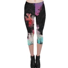 Stains Lines Patterns 3840x2400 Capri Leggings  by amphoto