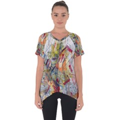 Texture Patterns Strokes  Cut Out Side Drop Tee