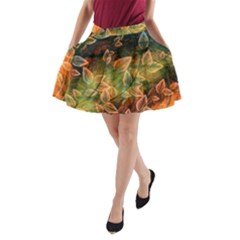 Leaves Plant Multi Colored  A Line Pocket Skirt by amphoto