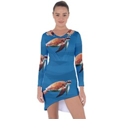 Sea Turtle Asymmetric Cut Out Shift Dress