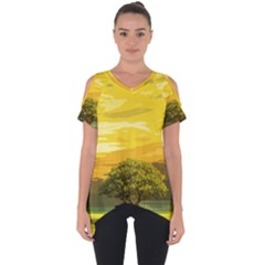 Landscape Cut Out Side Drop Tee