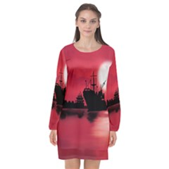 Open Sea Long Sleeve Chiffon Shift Dress