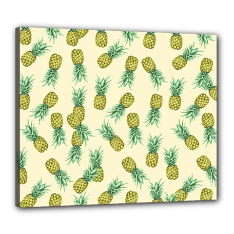 Pineapples Pattern Canvas 24  X 20  by Valentinaart
