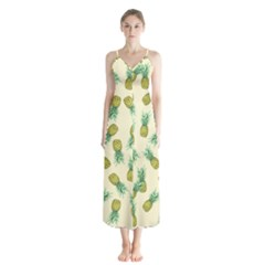 Pineapples Pattern Button Up Chiffon Maxi Dress by Valentinaart