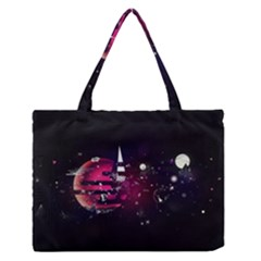 Fragments Planet World 3840x2400 Zipper Medium Tote Bag by amphoto