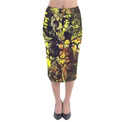 Circles Lines Background  Velvet Midi Pencil Skirt by amphoto