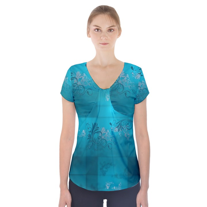 Volume Pattern Abstract Short Sleeve Front Detail Top