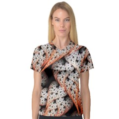 Dots Leaves Background  V Neck Sport Mesh Tee by amphoto