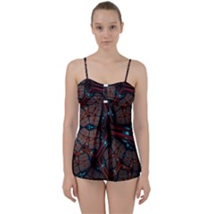 Surface Grid Lines  Babydoll Tankini Set by amphoto