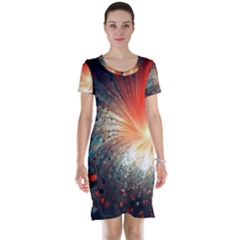 Plexus Background Colorful  Short Sleeve Nightdress by amphoto