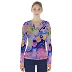 Patterns Colorful Drawing  V Neck Long Sleeve Top by amphoto
