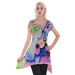 Patterns Colorful Drawing  Short Sleeve Side Drop Tunic by amphoto