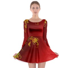 Fire Effect Background  Long Sleeve Skater Dress by amphoto